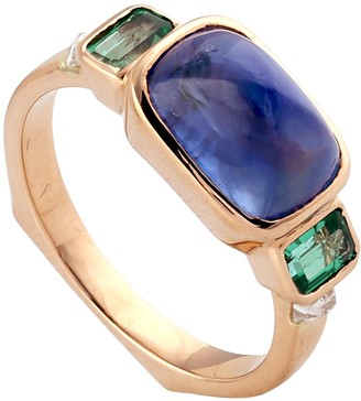 Artisan 18K Yellow Gold Diamond Designer Rings Blue Sapphire Emerald Precious Stone Jewelry