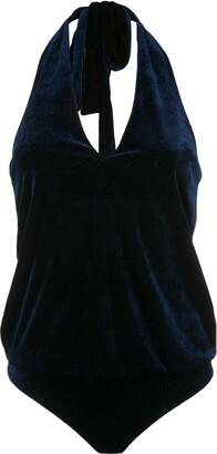 Adriana Degreas Velvet Halterneck Bodysuit