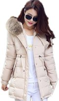 Yinhan YH Womens Winter Midi-pattern Loosen Hooded Down Feather Coat L