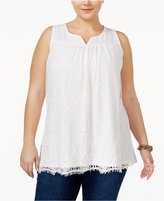Style&Co. Style & Co Plus Size Lace Top, Only at Macy's
