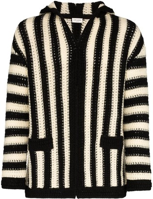 Saint Laurent Striped Hooded Cardigan