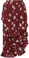 Simone Rocha Asymmetric Cutout Printed Silk Wrap Skirt - Red