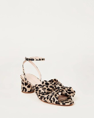 Loeffler Randall Dahlia Bow Low Heel with Ankle Strap Leopard