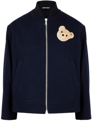 Palm Angels Navy wool-blend bomber jacket