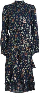 Saloni Isa Floral Brocade Silk Dress