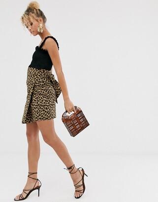 Never Fully Dressed wrap front asymmetric skirt in leopard-Multi