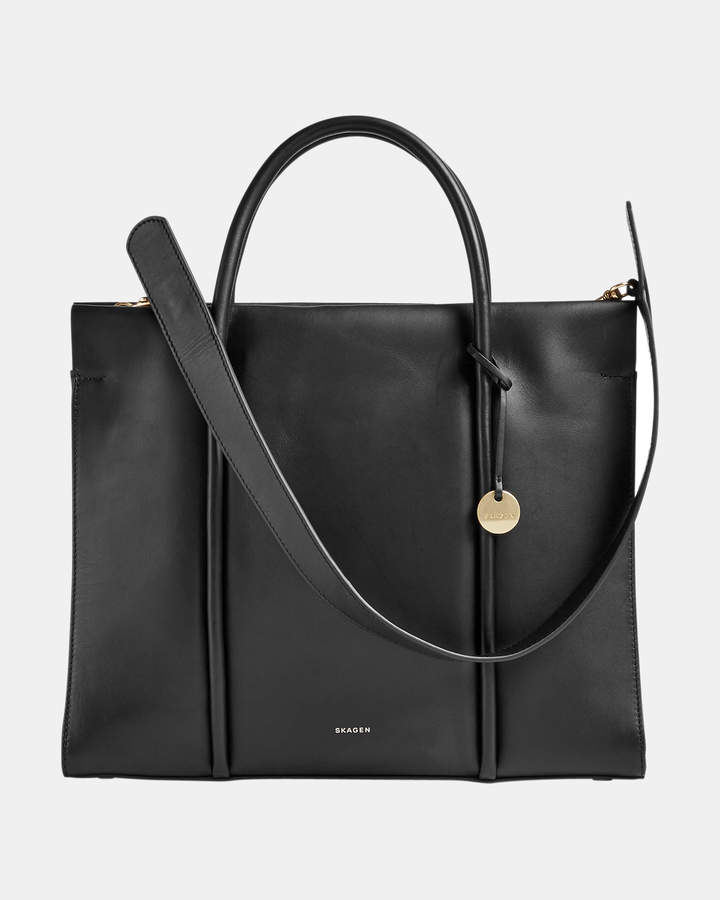 Skagen Katryn Black Recessed Zip Satchel
