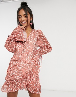 In The Style x Saffron Barker wrap detail balloon sleeve ruched dress in coral paisley print