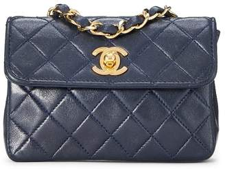 Chanel Navy Quilted Lambskin Half Flap Micro