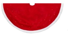 Kurt Adler 50-inch Battery Operated Red with White Fur Led Tree skirt