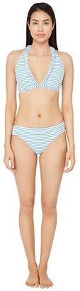Lauren Ralph Lauren Bengal Stripe Halter Bra Bikini Swimsuit Top (Blue/White) Women's Swimwear