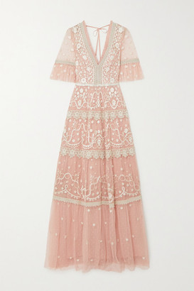 Needle & Thread Midsummer Lace-trimmed Embroidered Tulle Gown - Baby pink