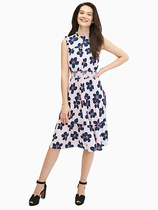 Kate Spade Mainline Grand Flora Smocked Waist Dress