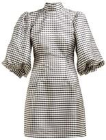 Ganni Gingham-check Silk Mini Dress - Womens - Black White