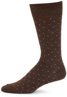 Saks Fifth Avenue Made In Italy Pindot Crew Socks