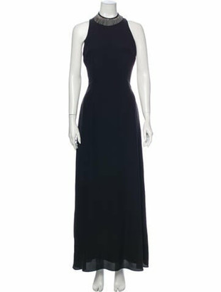 Brunello Cucinelli Mock Neck Long Dress Black