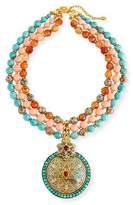 Jose & Maria Barrera Three-Strand Beaded Medallion Pendant Necklace