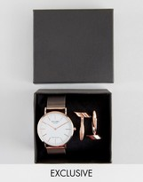 Reclaimed Vintage Classic Mesh Watch & Cufflinks Gift Set In Rose Gold
