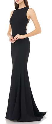 Carmen Marc Valvo Sleeveless Lace-Back Stretch Crepe Mermaid Gown
