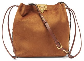 Valentino Rockstud Suede And Leather Cross-body Bag - Tan