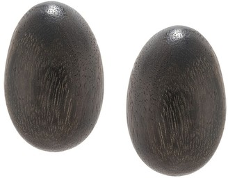 Josie Natori Acacia wood clip-on earrings