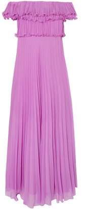 Halston Off-the-shoulder Plisse-georgette Gown