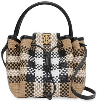Burberry Peony Vintage Check Woven Leather Bucket Bag
