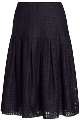 Akris Punto Dot Lace Pleated Bell Skirt