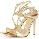 FSJ Women's Wedding High Heels Shoes for Brides Open Toe Stilettos Sandals with Straps Size 5