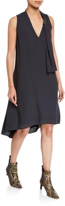 Brunello Cucinelli Scarf-Neck Silk High-Low Cocktail Dress