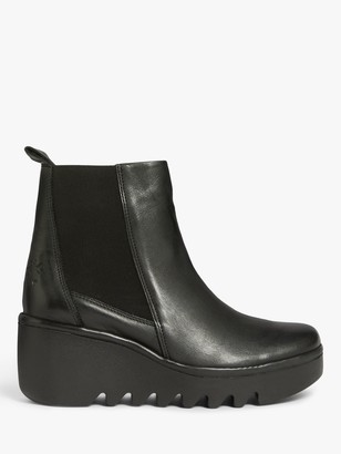 Fly London Bagu Leather Wedge Heel Platform Ankle Boots, Black