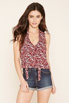 Forever 21 Neck-Tie Floral Print Tank