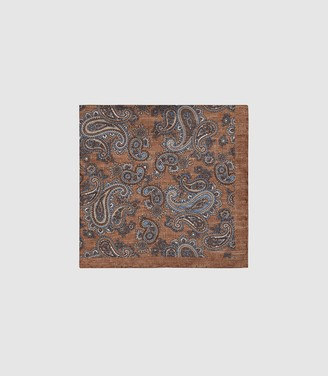 Reiss Morocco - Silk Paisley Printed Pocket Square in Mid Brown