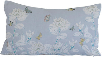 Dawn Wolfe Design Chinoiserie 14x22 Lumbar Pillow - Light Blue/White Linen