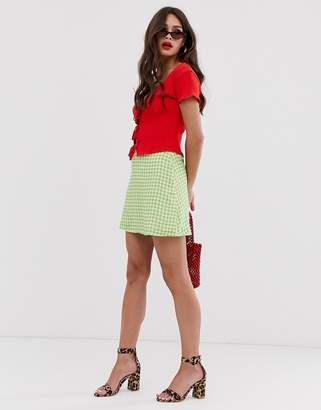 Musier Tea gingham mini skirt-Green