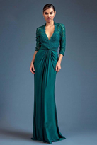 Mac Duggal Couture - 80518 Long Sleeve Gown In Teal
