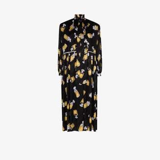 Balenciaga printed oversized ruffle silk maxi dress