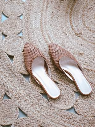 Goodnight Macaroon 'Joan' Rattan Pointed Toe Flat Mules (2 Colors)