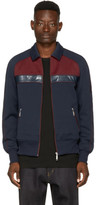 Junya Watanabe Navy and Burgundy Collared Track Jacket