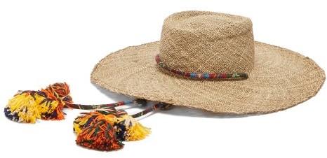 Ruslan Baginskiy Tasselled Straw Gambler Hat - Womens - Beige
