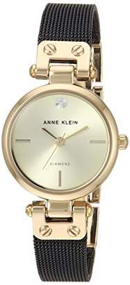 Anne Klein Women's Genuine Diamond Dial Gold-Tone and Black Mesh Bracelet Watch