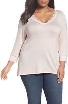 Bobeau Plus Size Women's Lace Trim Sweatshirt