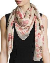 Alexander McQueen Silk Mixed Skull Scarf, Ivory/Pink/Black