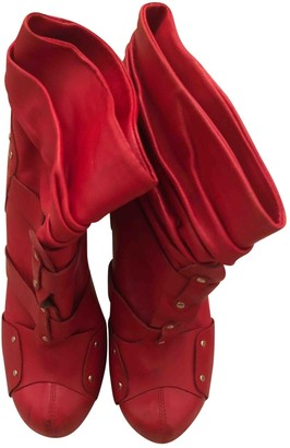 Versace Red Leather Boots