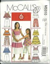 Mccall's 5310. Children's & Girl's Top, Skirt & Panats. Size: 7-8-10-12-14