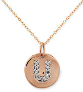 Lord & Taylor 14 Kt. Rose Gold with Diamond Accented U Necklace