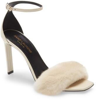 Saint Laurent Bea Genuine Mink Fur Sandal