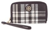 Tory Burch Leather-Trimmed Straw Wristlet