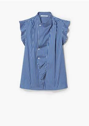 Derek Lam 10 Crosby Short Sleeve Striped Draped Blouse With Asymmetrical Placket