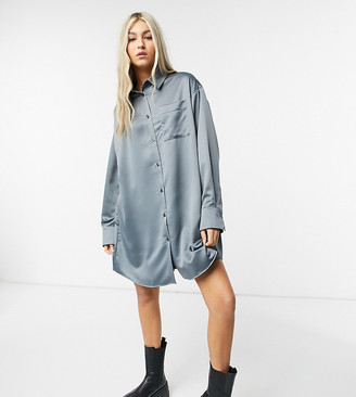 Collusion satin shirt dress in charcoal